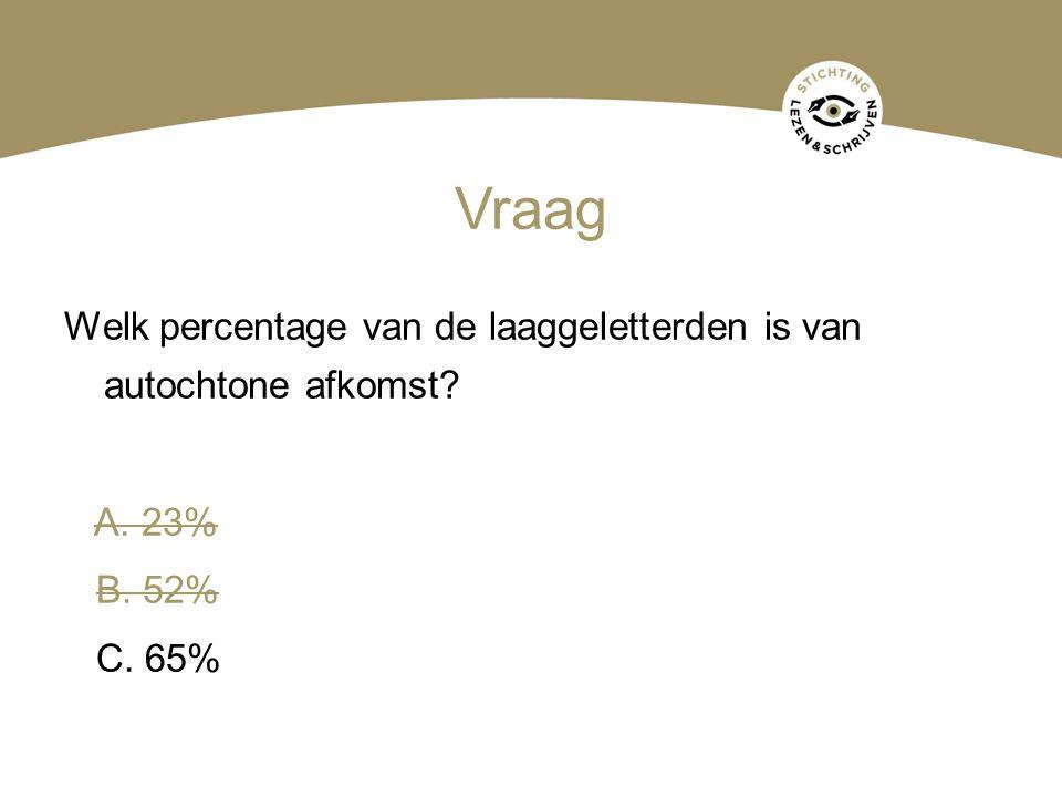 Vraag Welk percentage van de laaggeletterden is van autochtone afkomst? A. 23% B. 52% C. 65%