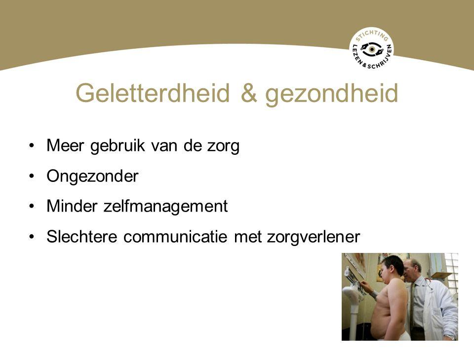 Geletterdheid & gezondheid Meer gebruik van de zorg Ongezonder Minder zelfmanagement Slechtere communicatie met zorgverlener