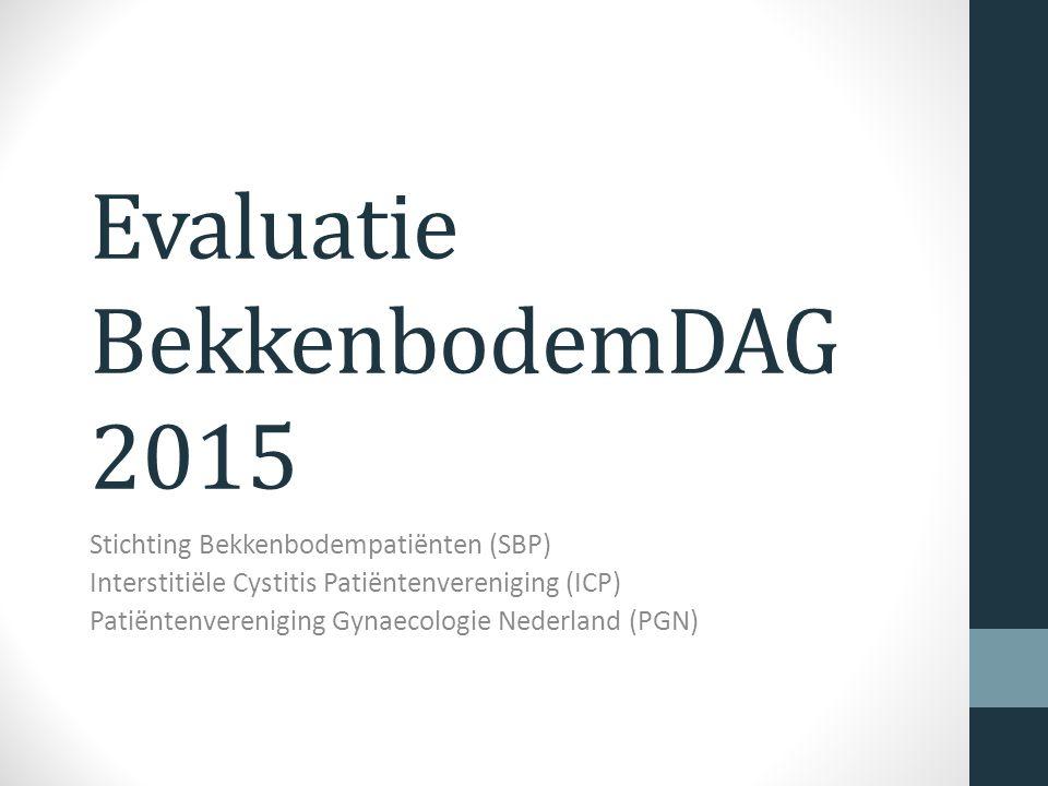 Evaluatie BekkenbodemDAG 2015 Stichting Bekkenbodempatiënten (SBP) Interstitiële Cystitis Patiëntenvereniging (ICP) Patiëntenvereniging Gynaecologie Nederland (PGN)