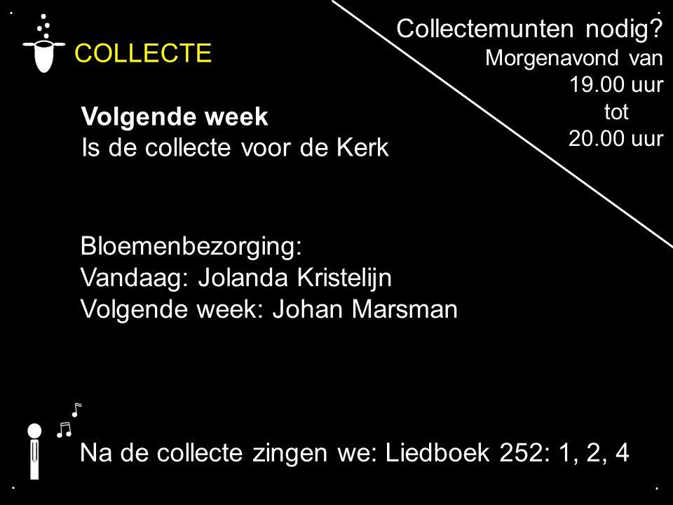 .... COLLECTE Volgende week Is de collecte voor de Kerk Bloemenbezorging: Vandaag: Jolanda Kristelijn Volgende week: Johan Marsman Collectemunten nodi