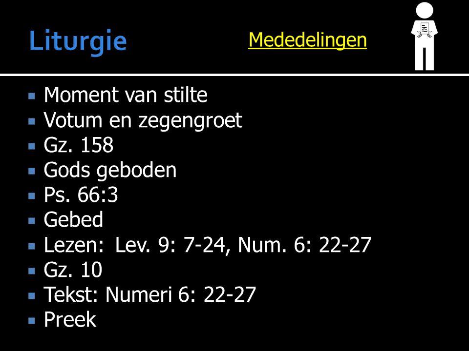 Gz. 10  Preek  Ps. 121: 1-4  Gebed  Collecte  Gz. 139: 1,3,6  Zegen