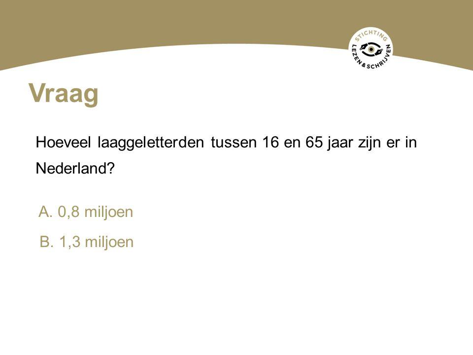 Vraag Hoeveel laaggeletterden tussen 16 en 65 jaar zijn er in Nederland? A. 0,8 miljoen B. 1,3 miljoen