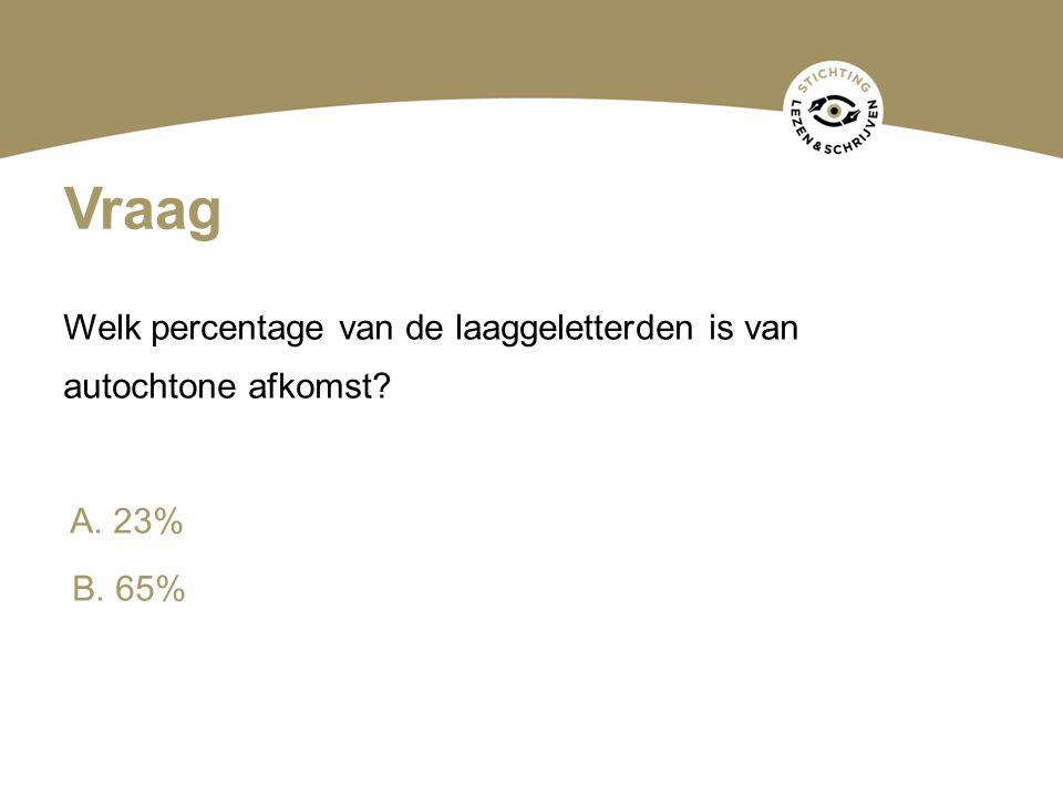 Vraag Welk percentage van de laaggeletterden is van autochtone afkomst A. 23% B. 65%