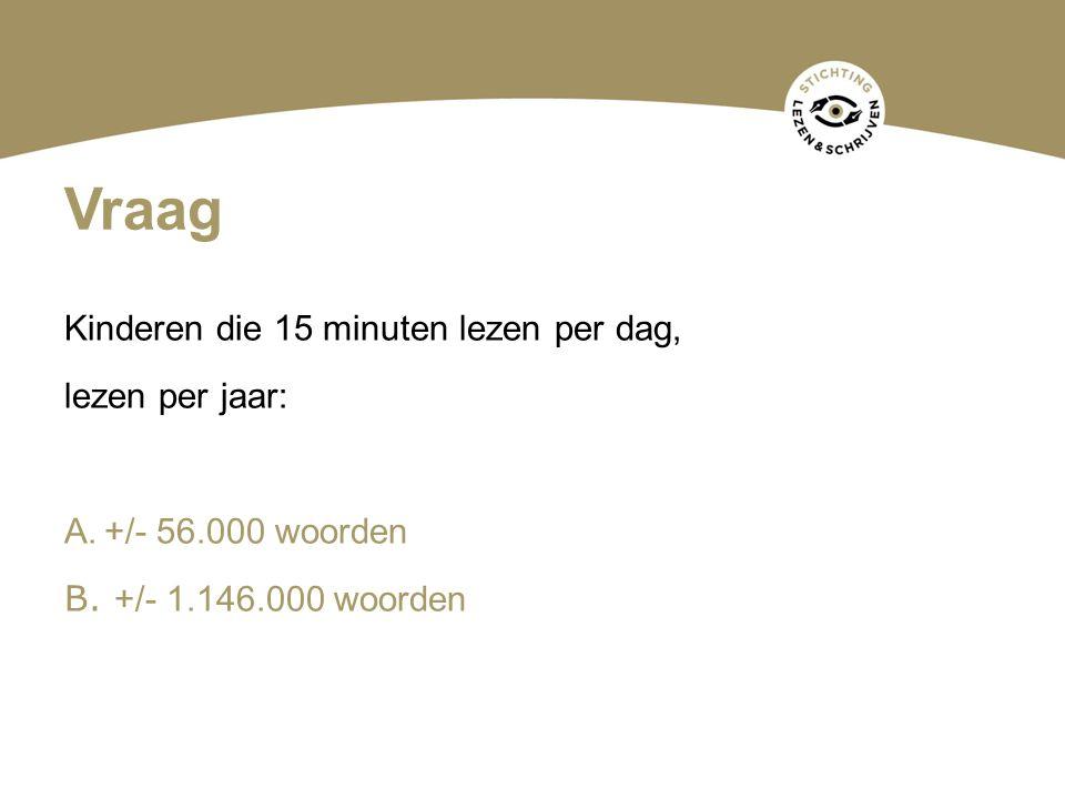 Vraag Kinderen die 15 minuten lezen per dag, lezen per jaar: A.+/- 56.000 woorden B. +/- 1.146.000 woorden