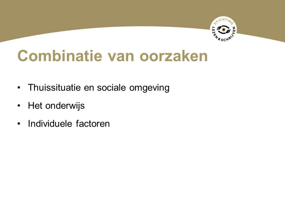 Combinatie van oorzaken Thuissituatie en sociale omgeving Het onderwijs Individuele factoren