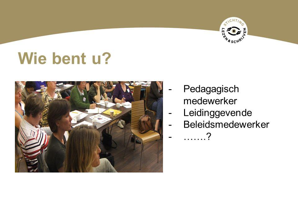 Wie bent u? -Pedagagisch medewerker -Leidinggevende -Beleidsmedewerker -…….?