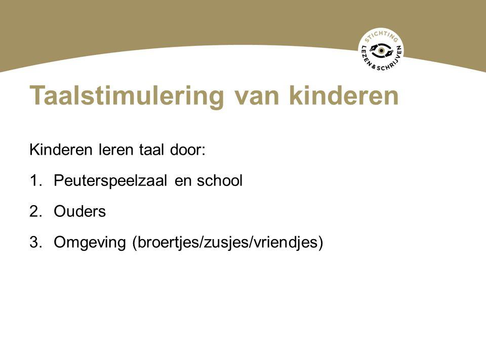 Taalstimulering van kinderen Kinderen leren taal door: 1.Peuterspeelzaal en school 2.Ouders 3.Omgeving (broertjes/zusjes/vriendjes)