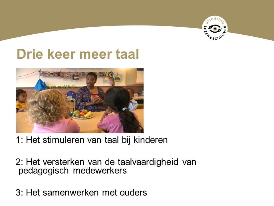 Drie keer meer taal 1: Het stimuleren van taal bij kinderen 2: Het versterken van de taalvaardigheid van pedagogisch medewerkers 3: Het samenwerken me