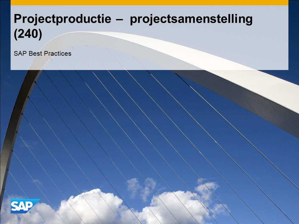 Projectproductie – projectsamenstelling (240) SAP Best Practices