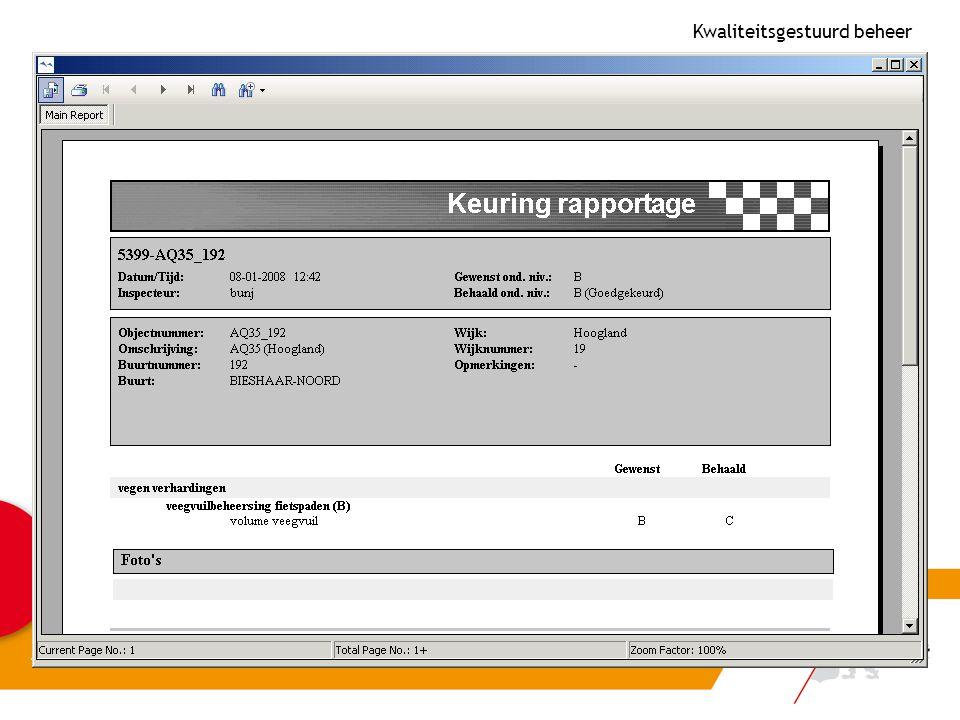Keuringsrapportage afkeur 1 Kwaliteitsgestuurd beheer