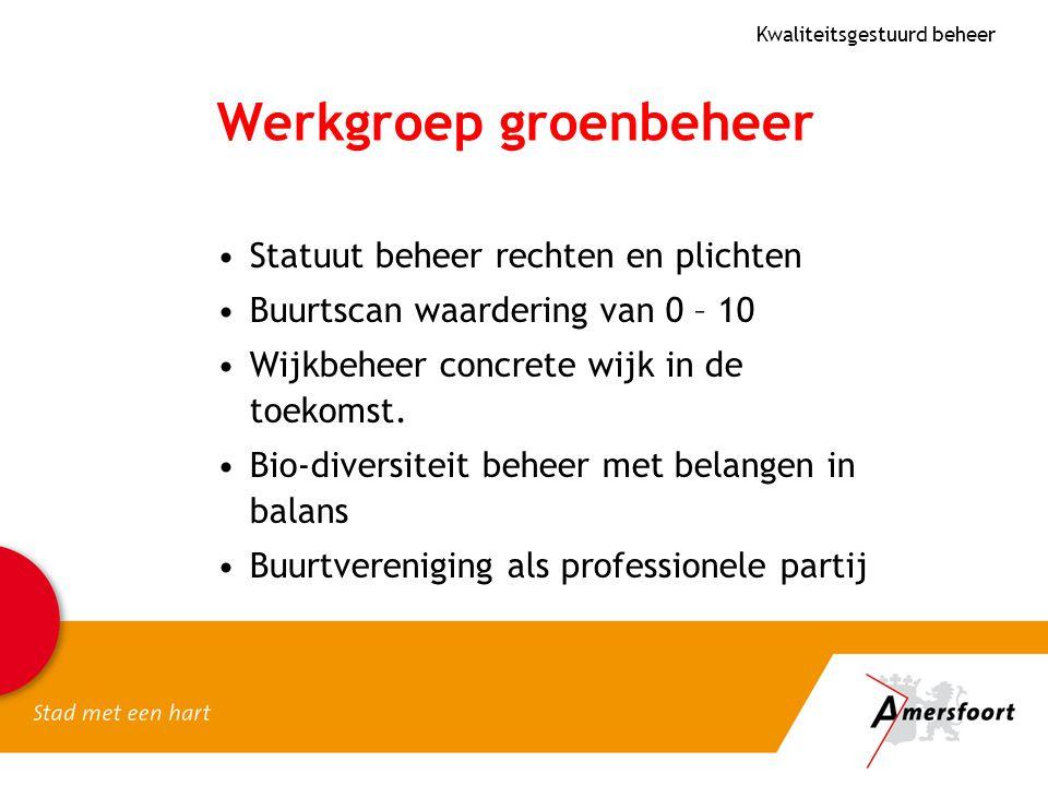 Werkgroep groenbeheer Statuut beheer rechten en plichten Buurtscan waardering van 0 – 10 Wijkbeheer concrete wijk in de toekomst. Bio-diversiteit behe