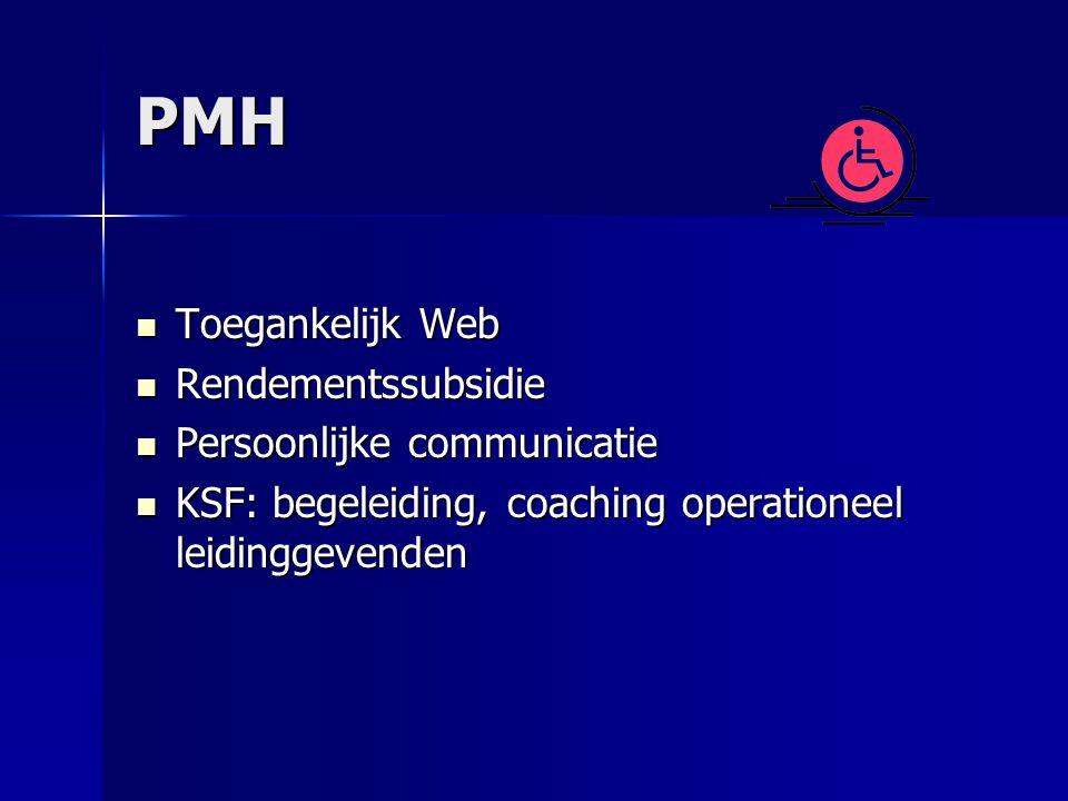 PMH Toegankelijk Web Toegankelijk Web Rendementssubsidie Rendementssubsidie Persoonlijke communicatie Persoonlijke communicatie KSF: begeleiding, coaching operationeel leidinggevenden KSF: begeleiding, coaching operationeel leidinggevenden