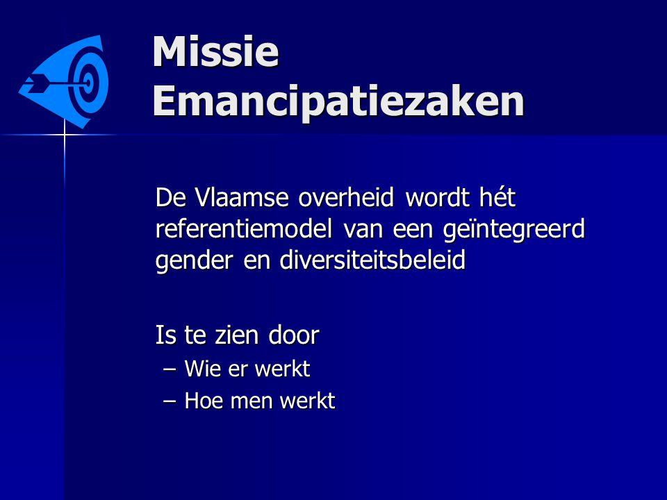 Missie Emancipatiezaken De Vlaamse overheid wordt hét referentiemodel van een geïntegreerd gender en diversiteitsbeleid Is te zien door –Wie er werkt –Hoe men werkt