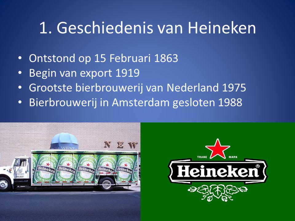 1. Geschiedenis van Heineken Ontstond op 15 Februari 1863 Begin van export 1919 Grootste bierbrouwerij van Nederland 1975 Bierbrouwerij in Amsterdam g