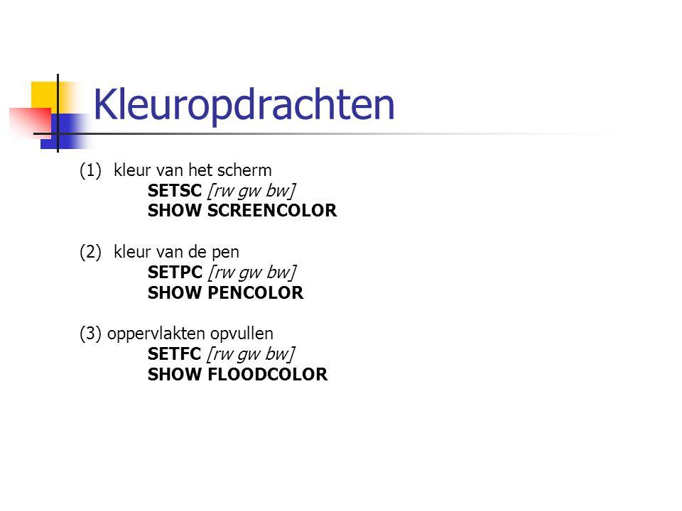 Kleuropdrachten (1)kleur van het scherm SETSC [rw gw bw] SHOW SCREENCOLOR (2)kleur van de pen SETPC [rw gw bw] SHOW PENCOLOR (3) oppervlakten opvullen SETFC [rw gw bw] SHOW FLOODCOLOR