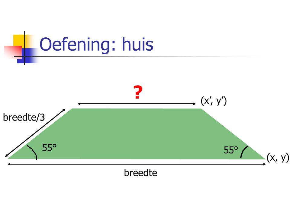 breedte 55° breedte/3 (x, y) (x', y')