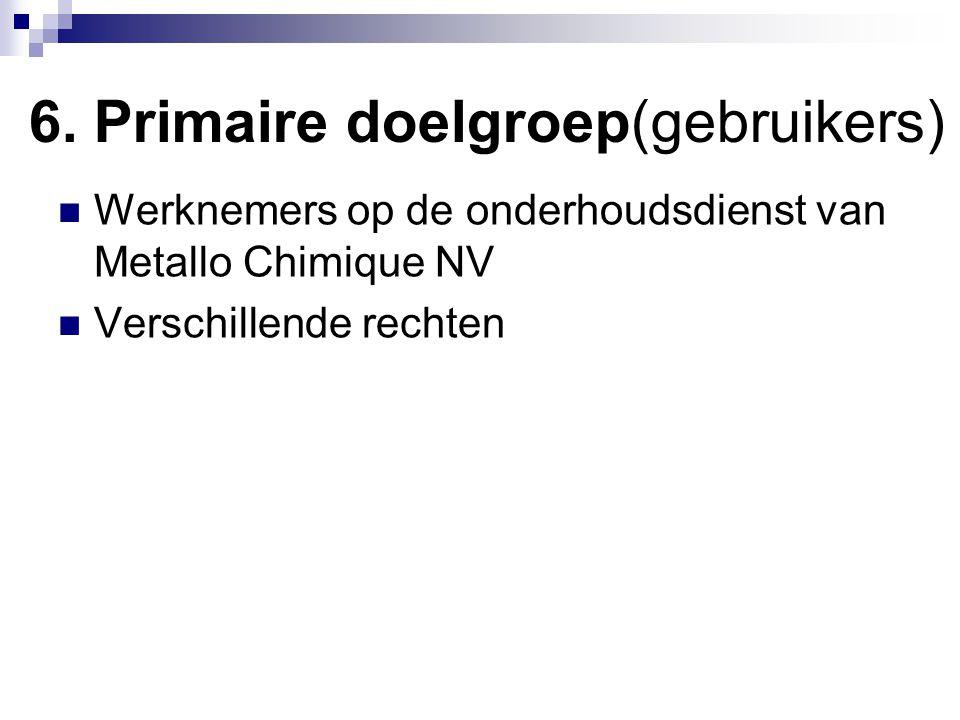 6. Primaire doelgroep(gebruikers) Werknemers op de onderhoudsdienst van Metallo Chimique NV Verschillende rechten