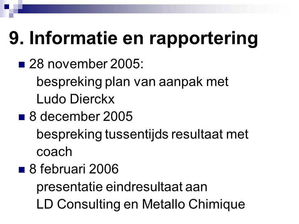 9. Informatie en rapportering 28 november 2005: bespreking plan van aanpak met Ludo Dierckx 8 december 2005 bespreking tussentijds resultaat met coach