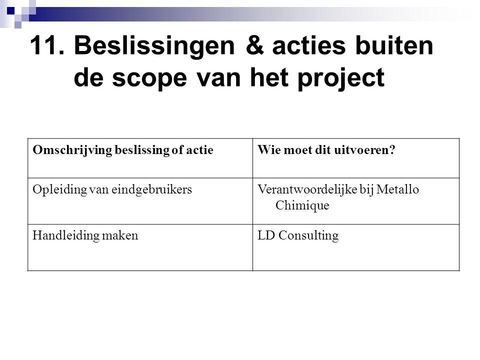 11. Beslissingen & acties buiten de scope van het project Omschrijving beslissing of actieWie moet dit uitvoeren? Opleiding van eindgebruikersVerantwo