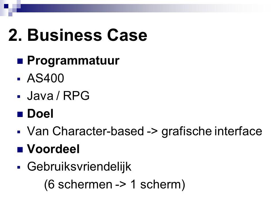2. Business Case Programmatuur  AS400  Java / RPG Doel  Van Character-based -> grafische interface Voordeel  Gebruiksvriendelijk (6 schermen -> 1