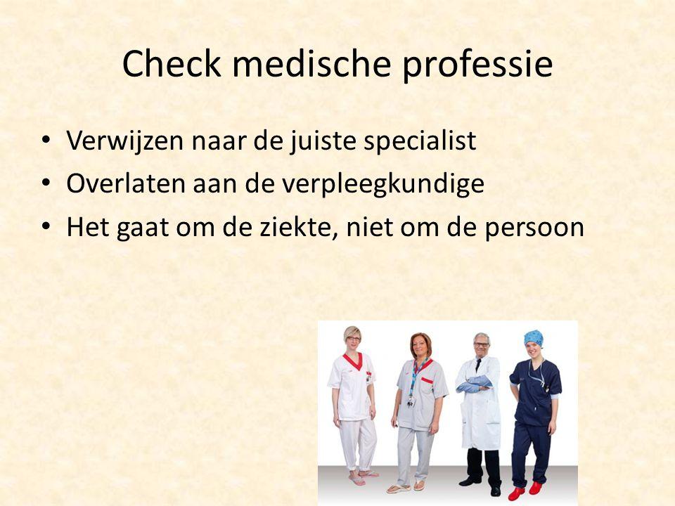 Check medische professie Verwijzen naar de juiste specialist Overlaten aan de verpleegkundige Het gaat om de ziekte, niet om de persoon
