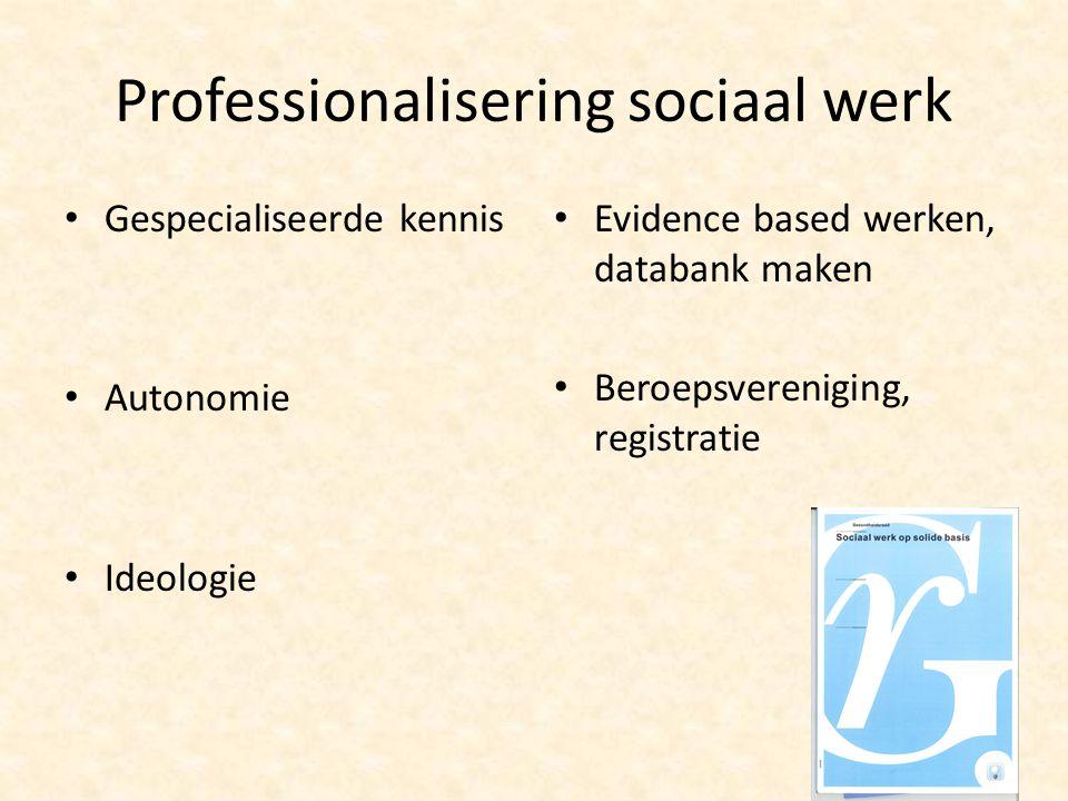 Professionalisering sociaal werk Gespecialiseerde kennis Autonomie Ideologie Evidence based werken, databank maken Beroepsvereniging, registratie