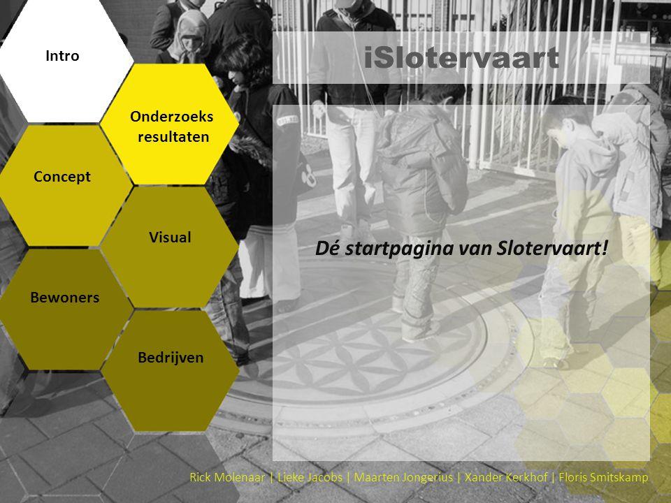 iSlotervaart Dé startpagina van Slotervaart! Intro Onderzoeks resultaten Concept Visual Bewoners Bedrijven Rick Molenaar | Lieke Jacobs | Maarten Jong