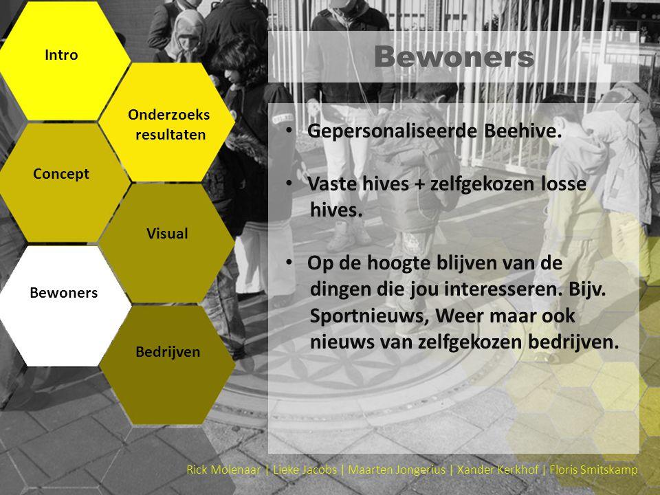 Bewoners Intro Onderzoeks resultaten Concept Visual Bewoners Bedrijven Rick Molenaar | Lieke Jacobs | Maarten Jongerius | Xander Kerkhof | Floris Smitskamp Gepersonaliseerde Beehive.