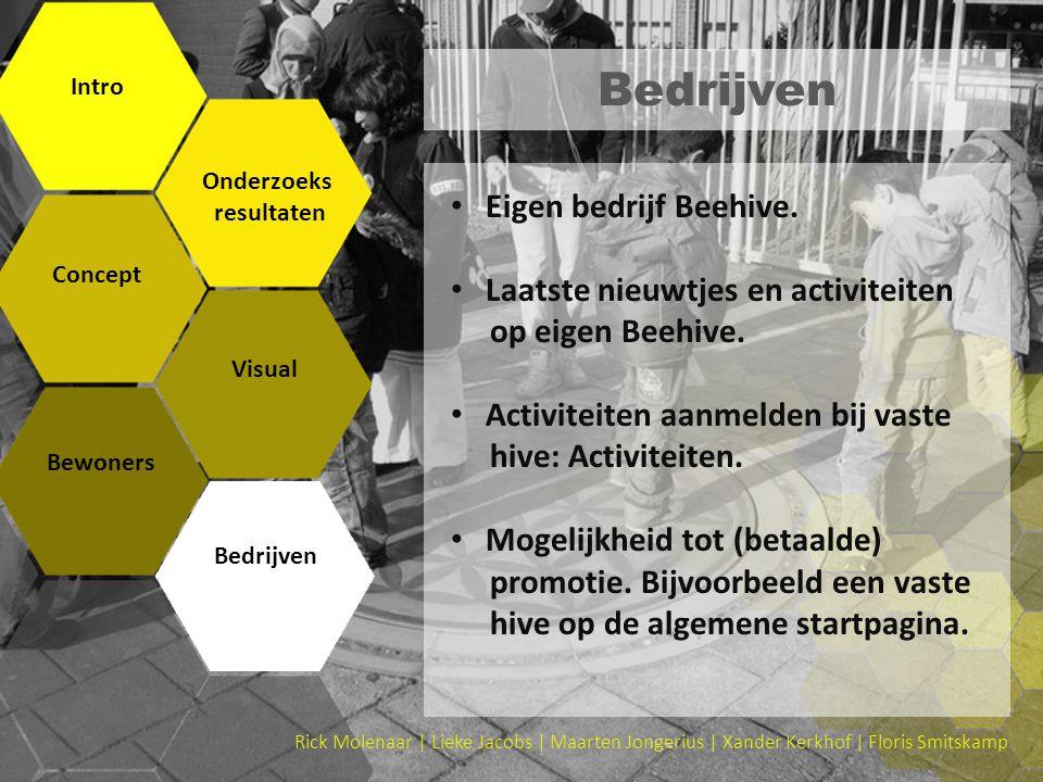 Rick Molenaar | Lieke Jacobs | Maarten Jongerius | Xander Kerkhof | Floris Smitskamp Bedrijven Intro Onderzoeks resultaten Concept Visual Bewoners Bed
