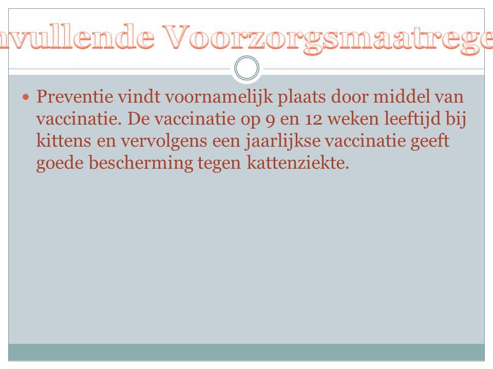 Preventie vindt voornamelijk plaats door middel van vaccinatie. De vaccinatie op 9 en 12 weken leeftijd bij kittens en vervolgens een jaarlijkse vacci