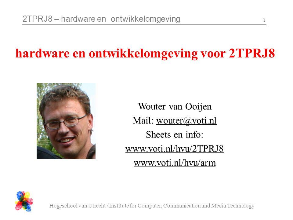 2TPRJ8 – hardware en ontwikkelomgeving Hogeschool van Utrecht / Institute for Computer, Communication and Media Technology 52 class C_Timer { public: // abstract methodes: virtual unsigned long getMillisec( void ) = 0; virtual void registerCallback( void (* cb)( void ) ) = 0; protected:...