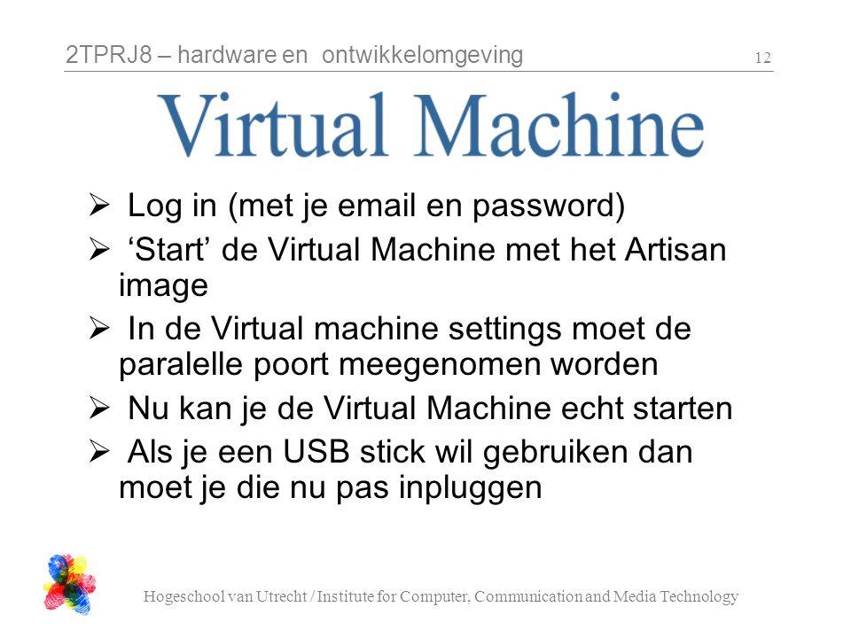 2TPRJ8 – hardware en ontwikkelomgeving Hogeschool van Utrecht / Institute for Computer, Communication and Media Technology 12  Log in (met je email e