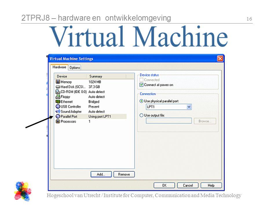 2TPRJ8 – hardware en ontwikkelomgeving Hogeschool van Utrecht / Institute for Computer, Communication and Media Technology 16