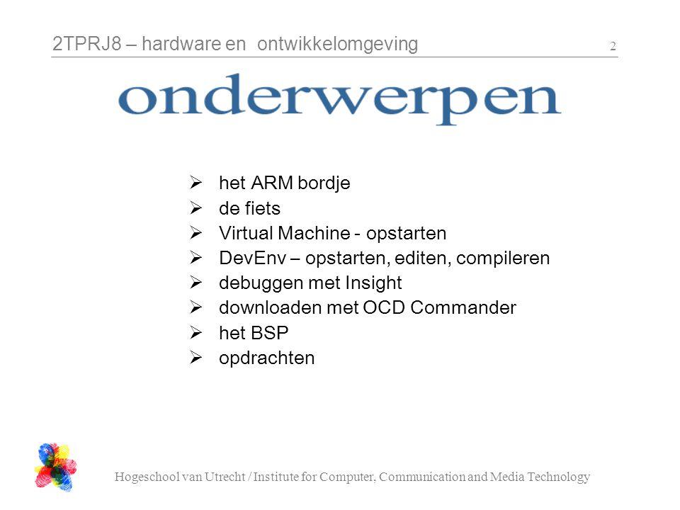 2TPRJ8 – hardware en ontwikkelomgeving Hogeschool van Utrecht / Institute for Computer, Communication and Media Technology 23 De microcontroller heeft 64Kb RAM, maar daar moet alles in: code, globale data, stack.