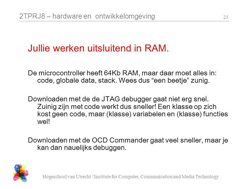 2TPRJ8 – hardware en ontwikkelomgeving Hogeschool van Utrecht / Institute for Computer, Communication and Media Technology 23 De microcontroller heeft