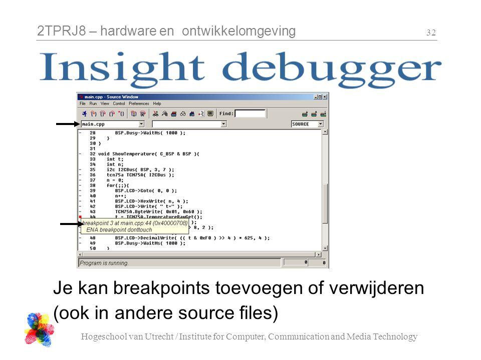 2TPRJ8 – hardware en ontwikkelomgeving Hogeschool van Utrecht / Institute for Computer, Communication and Media Technology 32 Je kan breakpoints toevo