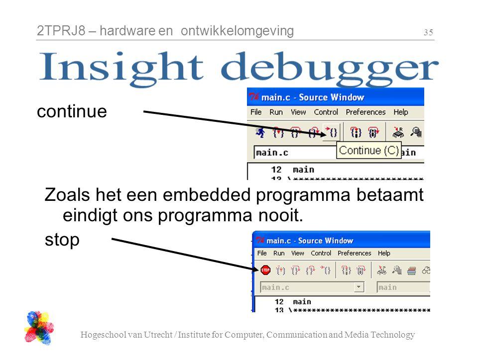 2TPRJ8 – hardware en ontwikkelomgeving Hogeschool van Utrecht / Institute for Computer, Communication and Media Technology 35 continue Zoals het een e