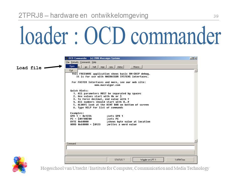 2TPRJ8 – hardware en ontwikkelomgeving Hogeschool van Utrecht / Institute for Computer, Communication and Media Technology 39 Load file