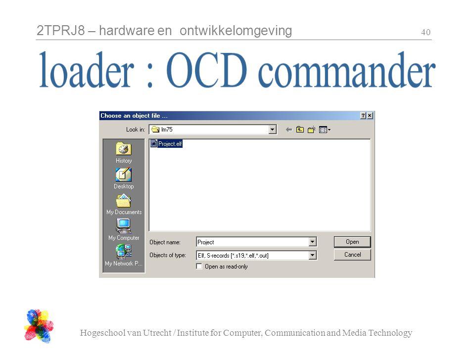 2TPRJ8 – hardware en ontwikkelomgeving Hogeschool van Utrecht / Institute for Computer, Communication and Media Technology 40
