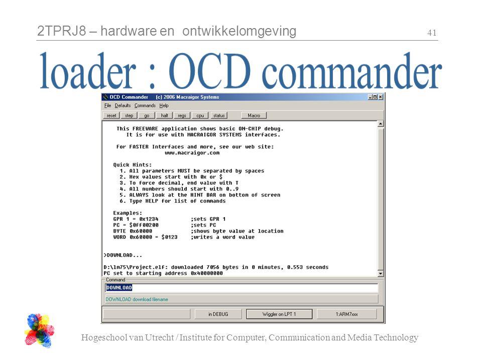 2TPRJ8 – hardware en ontwikkelomgeving Hogeschool van Utrecht / Institute for Computer, Communication and Media Technology 41