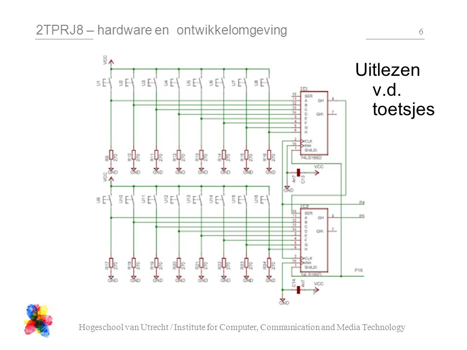 2TPRJ8 – hardware en ontwikkelomgeving Hogeschool van Utrecht / Institute for Computer, Communication and Media Technology 57 enum KeyT { Key0 = 6, Key1 = 15, Key2 = 14, Key3 = 13, Key4 = 12, Key5 = 11, Key6 = 10, Key7 = 9, Key8 = 8, Key9 = 7, KeyA = 3, KeyB = 2, KeyC = 1, KeyD = 0, KeyStar = 5, KeySharp = 4, KeyNone = 0xFF }; class C_Keyboard { public: // read the keyboard, return // whether a key is pressed // and if so which one KeyT read( void ); // read the keyboard, to get // the status of the given key bool readKey ( KeyT key );