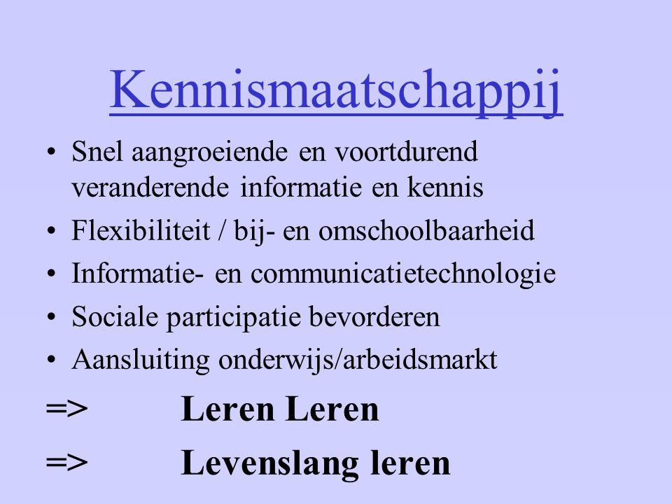 Kennismaatschappij Snel aangroeiende en voortdurend veranderende informatie en kennis Flexibiliteit / bij- en omschoolbaarheid Informatie- en communic