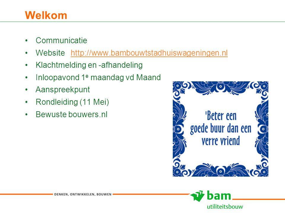 Welkom 3 Communicatie Website http://www.bambouwtstadhuiswageningen.nlhttp://www.bambouwtstadhuiswageningen.nl Klachtmelding en -afhandeling Inloopavond 1 e maandag vd Maand Aanspreekpunt Rondleiding (11 Mei) Bewuste bouwers.nl