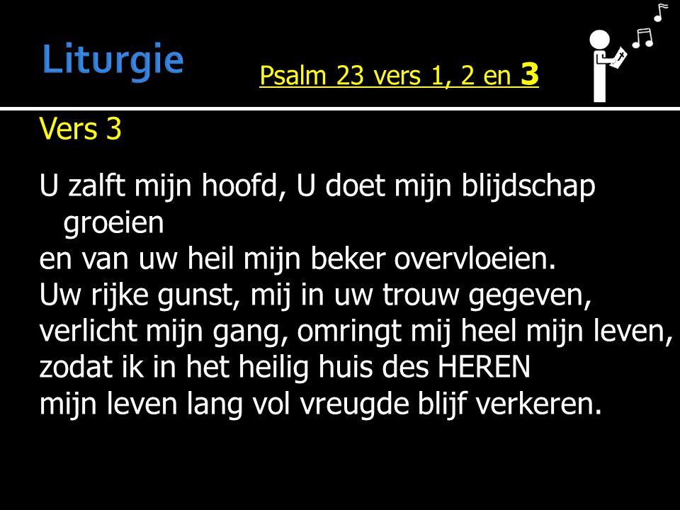 Vers 3 U zalft mijn hoofd, U doet mijn blijdschap groeien en van uw heil mijn beker overvloeien.