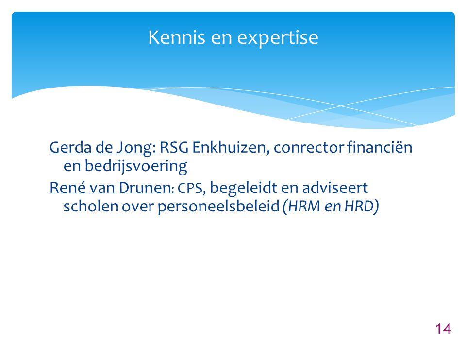 14 Kennis en expertise Gerda de Jong: RSG Enkhuizen, conrector financiën en bedrijsvoering René van Drunen : CPS, begeleidt en adviseert scholen over personeelsbeleid (HRM en HRD)
