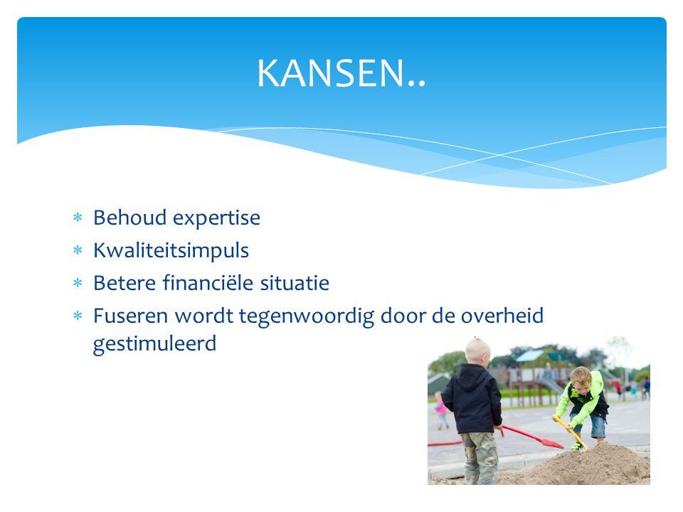  Behoud expertise  Kwaliteitsimpuls  Betere financiële situatie  Fuseren wordt tegenwoordig door de overheid gestimuleerd KANSEN..