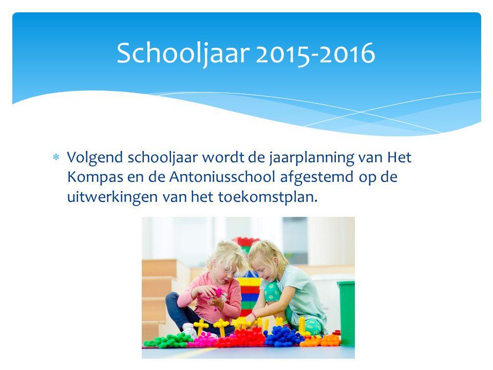  Volgend schooljaar wordt de jaarplanning van Het Kompas en de Antoniusschool afgestemd op de uitwerkingen van het toekomstplan. Schooljaar 2015-2016