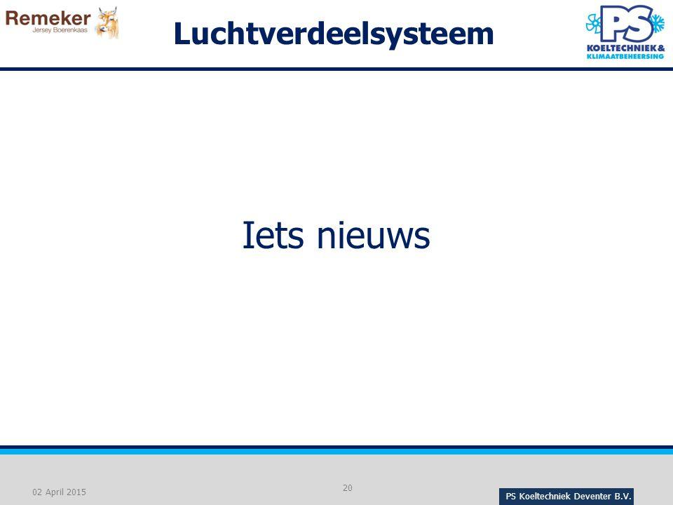 PS Koeltechniek Deventer B.V. 20 02 April 2015 Luchtverdeelsysteem Iets nieuws
