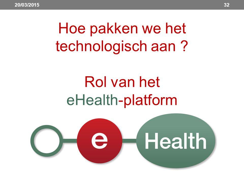 3220/03/2015 Hoe pakken we het technologisch aan ? Rol van het eHealth-platform