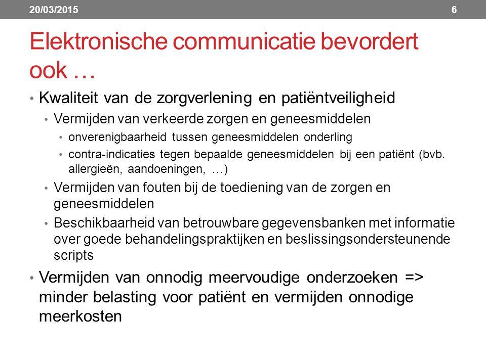 Elektronische communicatie bevordert ook … Kwaliteit van de zorgverlening en patiëntveiligheid Vermijden van verkeerde zorgen en geneesmiddelen onverenigbaarheid tussen geneesmiddelen onderling contra-indicaties tegen bepaalde geneesmiddelen bij een patiënt (bvb.